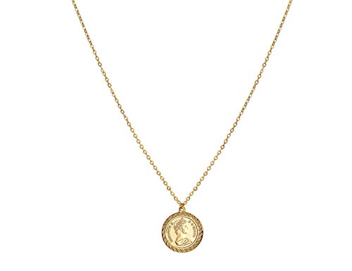ACC PLANET Coin Necklace 18K Gold Plated Queen Elizabeth II Vintage Disc Circle Dainty Pendant Necklace for Women (0.78'')