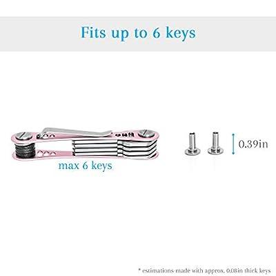 EM Compact Key Holder Premium (Aircraft Grade Aluminum) - Smart Keychain Organizer - Unique Style Pocket Clip Design (Rose): Kitchen & Dining
