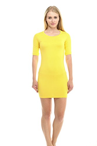 (Carapace Clothing Women's Summer Spring Casual Fashion Jersey T-Shirt Dress - YellowLarge)