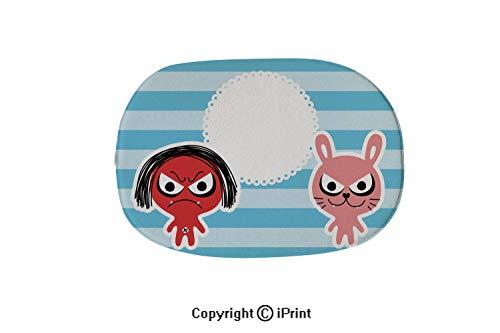 (Oval Bath Mat Non-Slip Carpets Bathroom Doormats Floor Rugs Kitchen Mats,Cute Monster Devil Message Card)