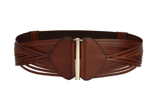 Women's Korean Style Simple Fashion Leather Wide Weave Belt (Brown) by RUI
