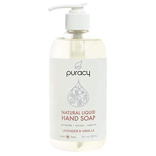 Natural Liquid Hand Soap - Sulfate-Free - Plant-Based - Non-Toxic - Lavender & Vanilla 12 FL. OZ. PUMP - Liquid Hand Soap Gentle Moisturizer