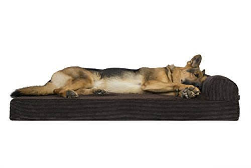 FurHaven Pet Dog Bed | Deluxe Orthopedic Faux Fleece & Corduroy Chaise Lounge Sofa-Style Pet Bed for Dogs & Cats, Espresso, Jumbo