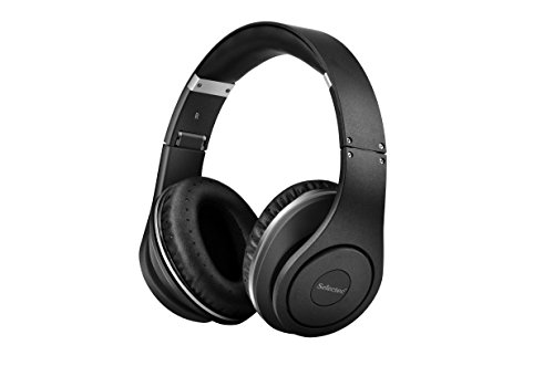 Selectec 4.1 Bluetooth Headphones Over Ear Wireless & Wired Earphones Foldable Noise Cancelling Headset with Bulit-in Mic for Apple iPhone iPod iPad Samsung LG Gaming TV PC- Black