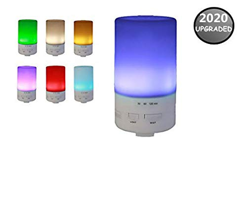 USB Essential Oil Diffuser - 50ml Portable Mini Diffuser - Ultrasonic Cool Mist Aroma Humidifier - Color LED Lights Changing And 3 Timer Settings - Auto Shut Off - For Computer, Car, Bedroom