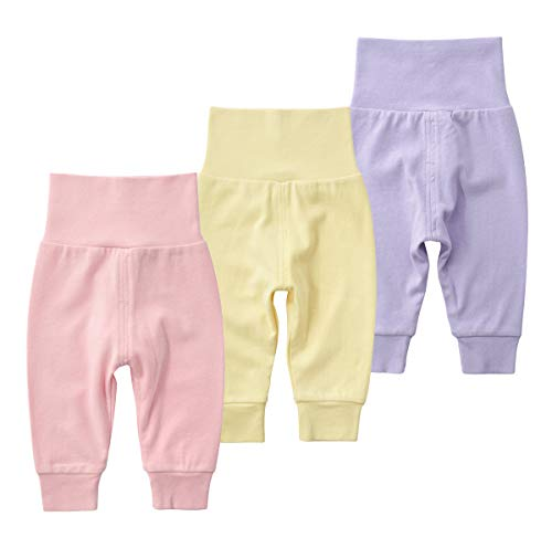 SYCLZ Baby Cotton High Waist Footed Pants Casual Leggings 0-12M (6-12M, E)