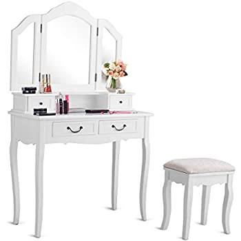 Amazon Com Charmaid Vanity Set With Tri Folding Mirror