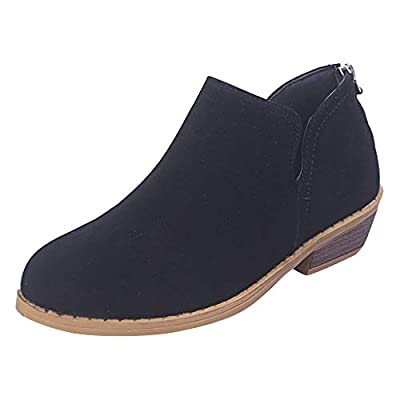 ???Watere??? Women's Pointed Toe Ankle Boot Heel Side Split Stacked Booties Solid Leather Martin Shoes Ankle Short Boots
