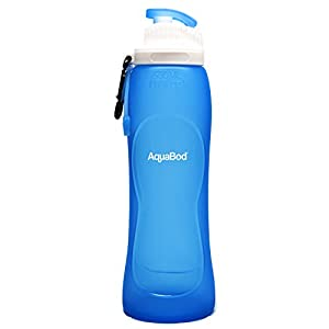 Aquabod Collapsible Water Bottle - BPA Free, 17oz, Leak Proof Silicone Foldable Sports Water Bottle, The Smart Hydration Solution