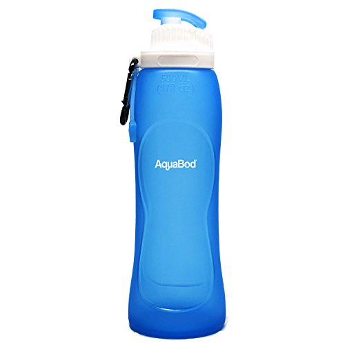 Aquabod Collapsible Water Bottle - BPA Free, 17oz, Leak Proof Silicone Foldable Sports Water Bottle, The Smart Hydration Solution (Clip Water Bottle)