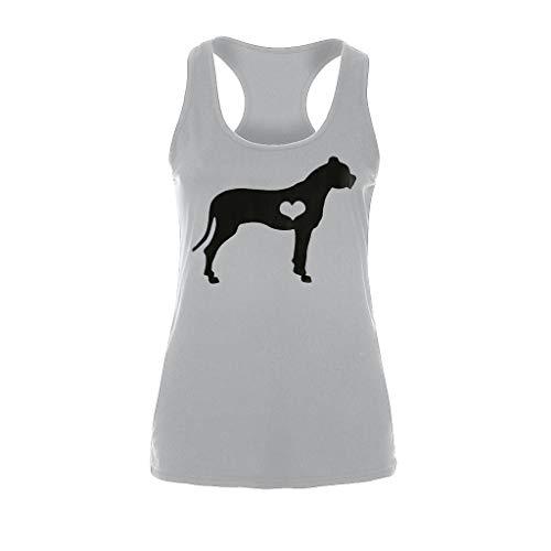 (HYIRI Women's Printed Dog Love Sleeveless Sleeveless Vest Sleeveless Top O Neck T-Shirt)