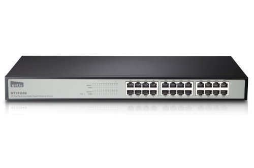Netis ST3124G 24-Port 10/100/1000M Gigabit 19-inch Rackmountable Switch, Auto-Negotiation, P&P, Mounting Kits Included