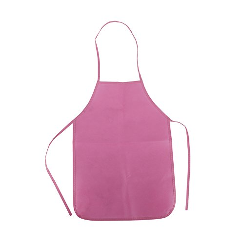 Opromo 12-Pack Non Woven Colorful Kids Apron for DIY Painting Drawing Artist Available in Two Sizes(S/M)-Pink-S
