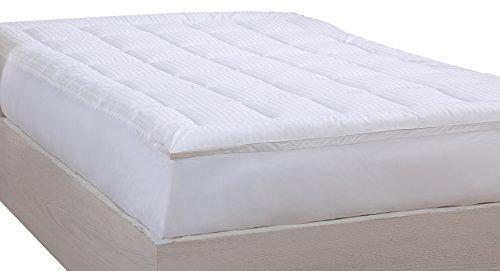 (LCM Home Fashions 500TC Damask Stripe Mattress Pad, Twin)