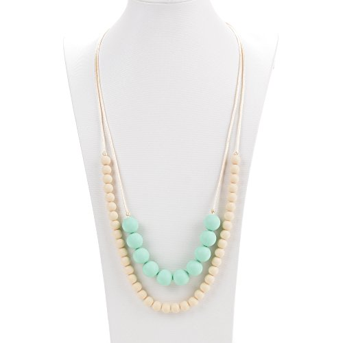 Consider It Maid Baby/Toddler Silicone Teething Necklace - BPA Free and FDA Approved - Organic Natural Teether - Mine and Your Collection (Navajo White/Mint)