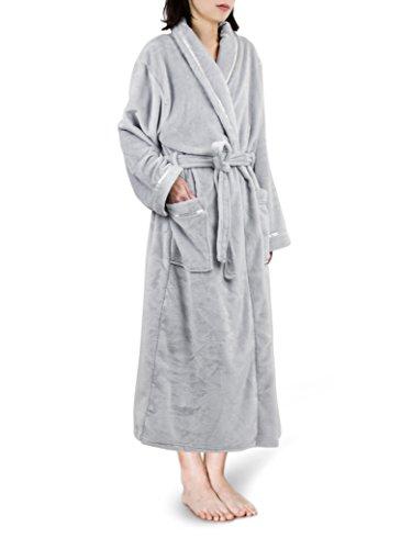 Premium Women Fleece Robe with Satin Trim | Luxurious Super Soft Plush Bathrobe Light Grey -