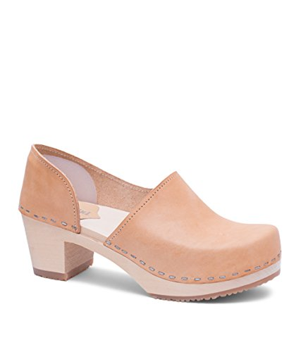 Sandgrens Swedish High Heel Wooden Clogs for Women | Brett Nude Veg, EU 40