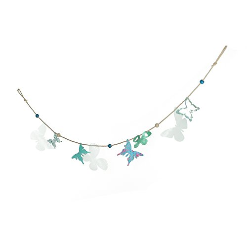 (Roser Life Garland Banner Decorations⎮Handmade Boho Decorative Hanging Ornament⎮Silk Fabric Home Outdoor Party Decor⎮Birthday Wedding Christmas Baby Shower Cake Teal Blue Butterfly (Pack of 1))