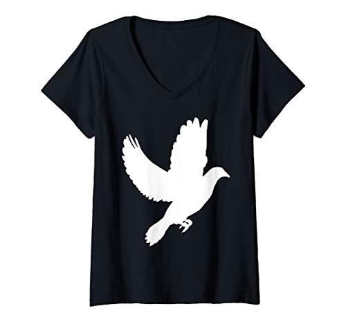 Womens Dove Flying Pigeon Cool Bird Lover Gift V-Neck T-Shirt