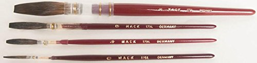 Finest Brown Kazan Squirrel Hair Lettering Quill with Plain Wood Handle - Size 6 Mack