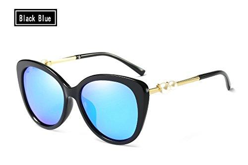 Negro Sunglasses polarizado Mujer Espejo black blue Gafas de UV400 Sol Perla Azul TL zxqRSFF