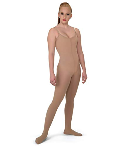 DANCEYOU Women's Full Stretch Convertible Girls Body Tights for Dance Performances, Tan, Size XL (Best Full Body Stretches)