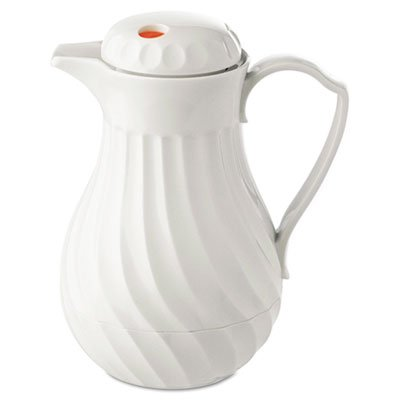 Hormel - Poly Lined Carafe, Swirl Design, 64 oz. Capacity, White - Sold As 1 Each - Polyurethane insulation keeps beverages hot or cold.