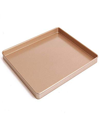 12 x 10 Inch Carbon Steel Baking Pan, Momugs Nonstick Square Cookie Sheet Bakeware Roasting Tray, Champagne gold ()
