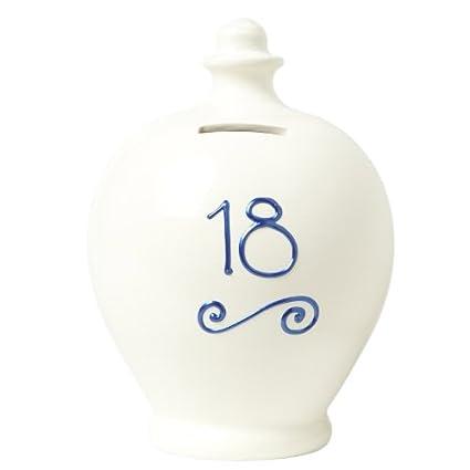 Terramundi Money pot–Cream with 18Written in blu S5