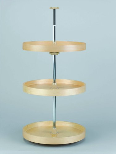 20in 3 Shelf Full Circle Banded Wood Lazy Susan Set by Lazy Daisy