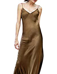 TIFENNY Womens Milk Silk Soft Dresses Fashion Sexy Solid Sleeveless Backless Open Fork Long