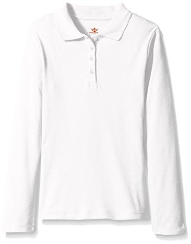 Dockers Big Girls' Uniform Long Sleeve Polo, White, XL (16) (Girls Long Sleeve Polo)