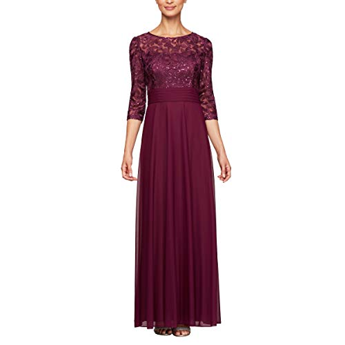 Alex Evenings Women's Long Lace Top Empire Waist Dress, Bright Plum, - Empire Waist Lace Top