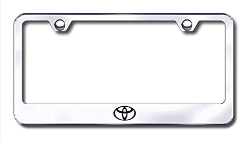 New Stainless Steel Chrome Toyota Logo License Plate Frame W/Bolt Caps