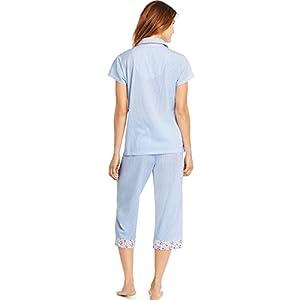 Hanes Womens Notch Collar Top Capri PJ Set, M, Freshwater Stripe