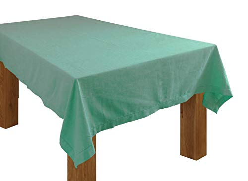 HomweLinen Rectangular Table Cloth, 100% Cotton Hemstitch Table Cloth - 60x84 Inch, Aqua Green Chambray, Suitable for Dinner, Events & Weddings