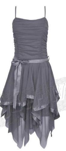 Femmes de Mousseline Dames de GirlzWalk Bal Asymmetric Dress Ruched Fashion Hem Gris Robe Party Ribbon Soie en dEqPttxz