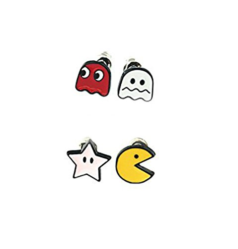 Pacman Game Characters 2 Pair (4 Studs) Earring Set