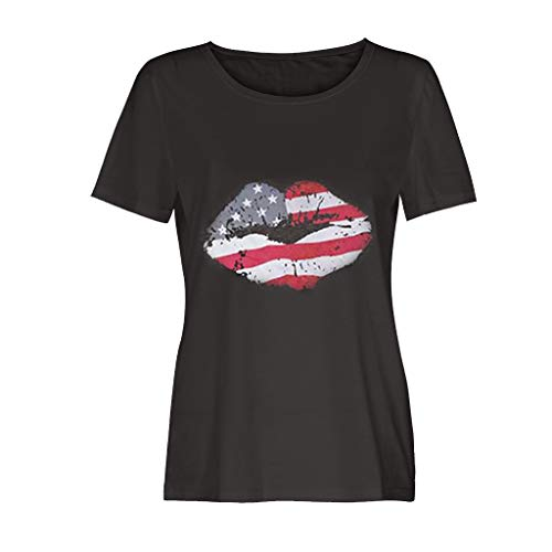 (Todaies Women's Fashionable Loose American Flag Short-Sleeved Printed T-Shirt Top(Independence Day) (L, Gray 2))