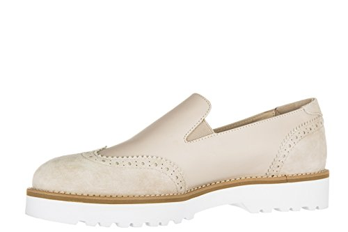 Hogan slip on donna in pelle sneakers nuove originali h259 route pantofola beige