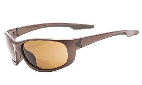 Eyekepper TR90 Unbreakable Sports Bifocal Sunglasses Baseball Running Fishing Driving Golf Softball Hiking Pearly Brown Frame Brown Lens +1.0