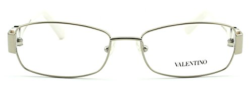 Valentino V2103R Women Rectangular Eyeglasses (White Gold Frame 718, 53)