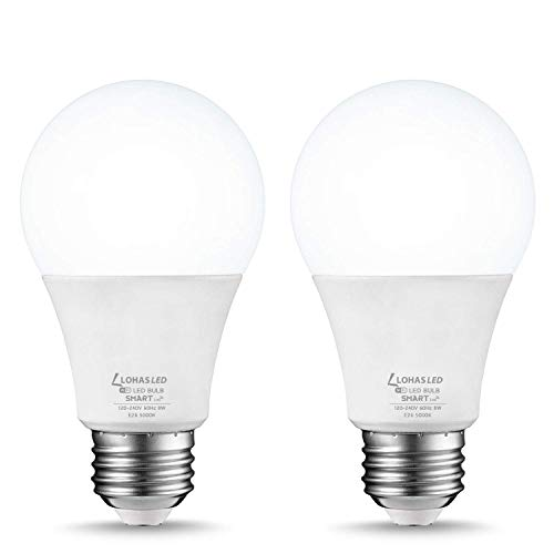LOHAS Smart WiFi LED Light Bulb, Dimmable A19 LED Daylight Smart Bulbs 5000K, 50W(8W) Equivalent Compatible with Alexa, Google Home Assistant, Siri Remote Control by Smart Phone APP, E26 Base, 2 Pack