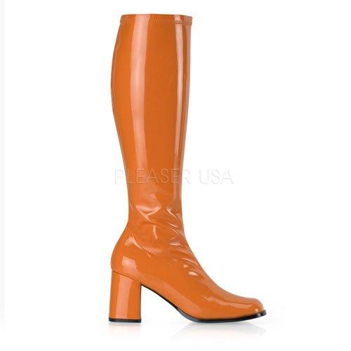 Funtasma by Pleaser Women's Gogo-300 Boot,Orange Stretch Patent,7 (Orange Patent Footwear)