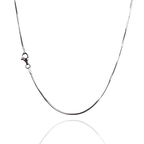 (925 Sterling Silver 1.20 mm Diamond Cut Snake Chain with Necklace Pear Shape Clasp-Rhodium Finish)