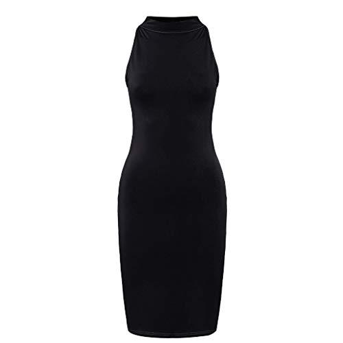 (Caopixx Casual Gown for Women Slim Strapless Backless Knee Dress Turtleneck Skinny Dress Midi Dress Black)