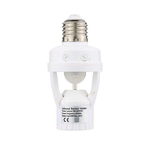 Decdeal 360 Degree Detection PIR Infrared Motion Sensor E27 LED Light Lamp Base Holder Bulb Socket Day & Night 2 Modes ()