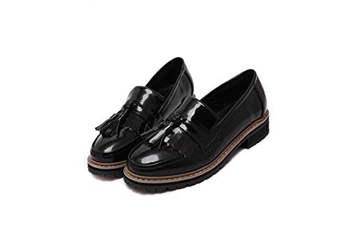 Del Comodidad Bajo Cerrado Tacón Zapatos Mujer Lvyuan Estilo Black Oxfords Redonda Pie Aire Dedo Libre Preppy Borlas Al Dunk De Grueso Punta Casual v0waqSw6