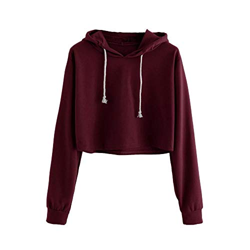 (HGWXX7 Women's Hoodie Solid Long Sleeve Hooded Pullover Crop Tops Blouse Sweatshirt(S,Wine))