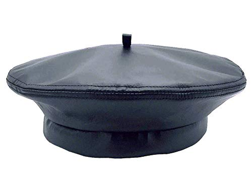 Emstate Winner Caps Unisex Cowhide Leather Beret Made in USA (Navy)
